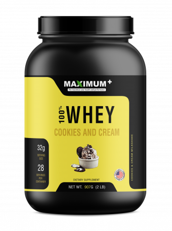100% Whey Protein - Cookies and Cream - 2 lbs - 28 Servings per pack